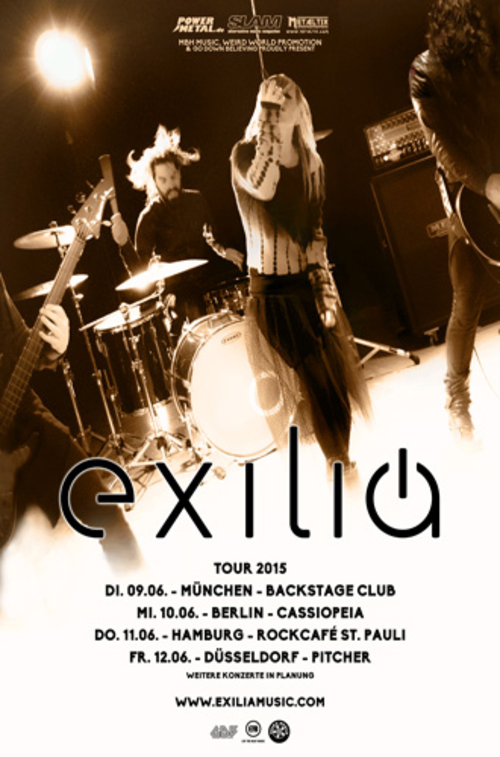 (C) MBH Music/Weird World Promotion/Go Down Believing / EXILIA Tourposter 2015 / Zum Vergrößern auf das Bild klicken