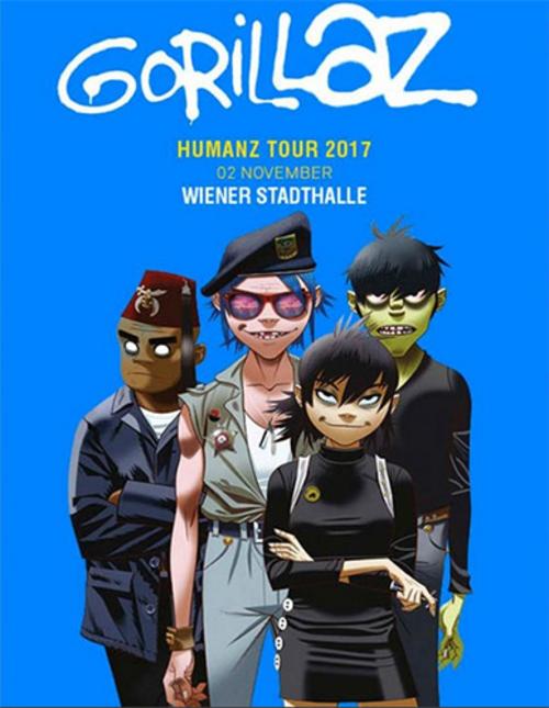 (C) Barracuda Music / GORILLAZ Humanz Tour 2017 Wien Flyer / Zum Vergrößern auf das Bild klicken