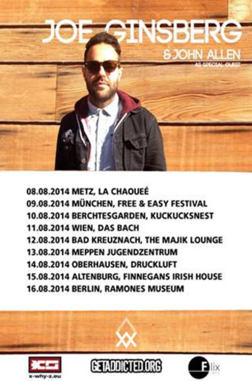 (C) Flix Records / JOE GINSBERG Europe Tour 2014 Flyer / Zum Vergrößern auf das Bild klicken