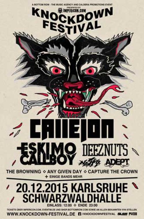 (C) Bottom Row/Caldera Promotions / Knockdown Festival 2015 Poster / Zum Vergrößern auf das Bild klicken