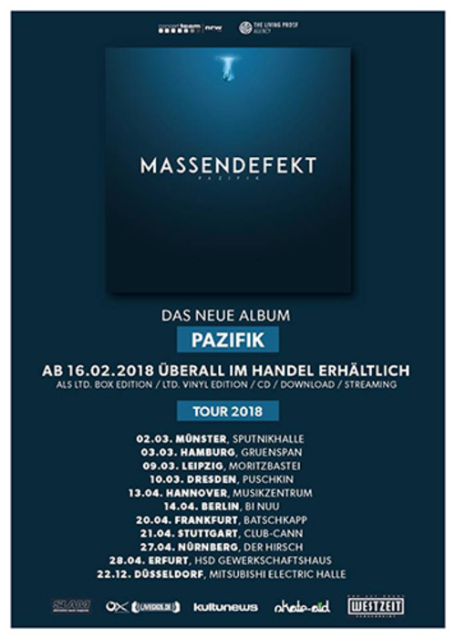 (C) The Living Proof Agency / MASSENDEFEKT Tour 2018 Flyer / Zum Vergrößern auf das Bild klicken
