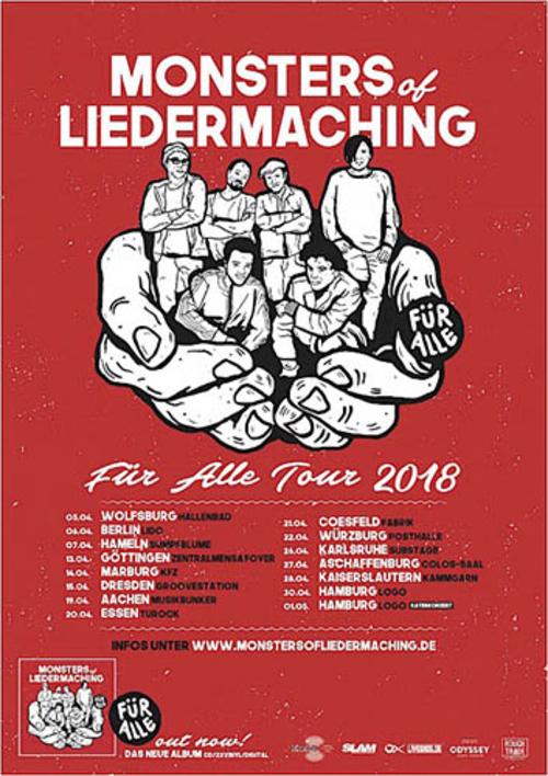 (C) KOKS Music / MONSTERS OF LIEDERMACHING Für Alle Tour 2018 Flyer / Zum Vergrößern auf das Bild klicken