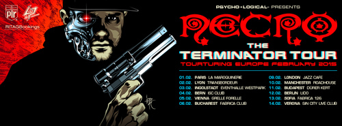 (C) Psycho+Logical-/RITAGBookings / NECRO The Terminator Tour Flyer / Zum Vergrößern auf das Bild klicken