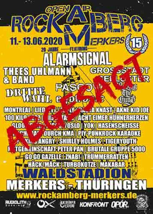 (C) Rock am Berg Merkers / Rock am Berg Merkers 2020 Flyer abgesagt / Zum Vergrößern auf das Bild klicken