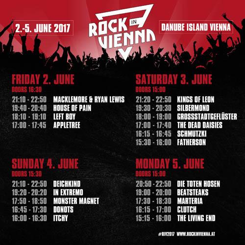(C) Rock in Vienna / Rock in Vienna 2017 Timetable / Zum Vergrößern auf das Bild klicken