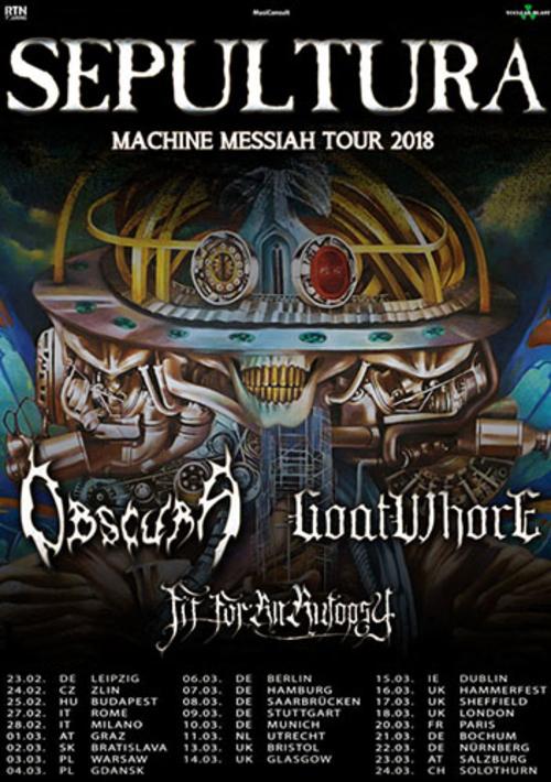 (C) RTN Touring / SEPULTURA Machine Messiah Tour 2018 Flyer / Zum Vergrößern auf das Bild klicken