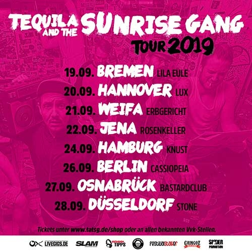 (C) Uncle M Music/Spider Promotion / TEQUILA AND THE SUNRISE GANG Tourposter 2019 / Zum Vergrößern auf das Bild klicken